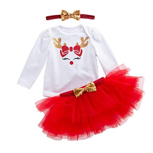 YuanDian Baby Mädchen 3tlg Kleid Weihnachten Bekleidung Set Neugeborenes Outfit Kleinkind Weihnachtskostüm Strampler Body + Tütü Rock + Stirnband Babykleidung 1# Rot 3-6 ()