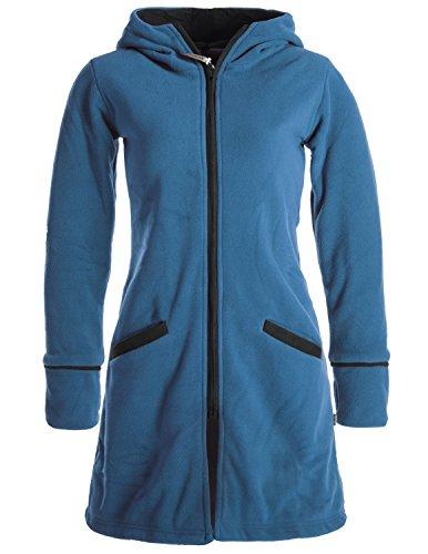 Vishes- Alternative Bekleidung - Warmer Wintermantel aus Eco Fleece mit Zipfelkapuze türkis 44