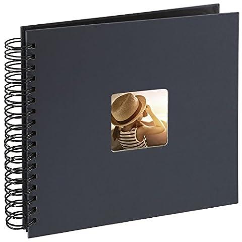 Hama Fotoalbum (28 x 24 cm, 50 schwarze Seiten, 25 Blatt, mit Ausschnitt für Bildeinschub, Fotobuch)