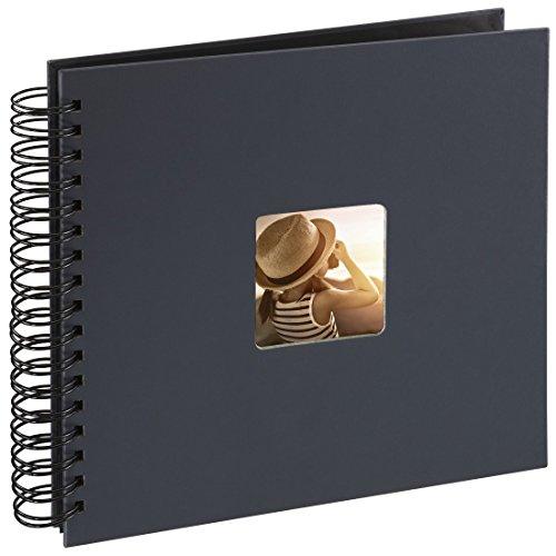 Preisvergleich Produktbild Hama Fotoalbum (28 x 24 cm, 50 schwarze Seiten, 25 Blatt, mit Ausschnitt für Bildeinschub) Fotobuch grau