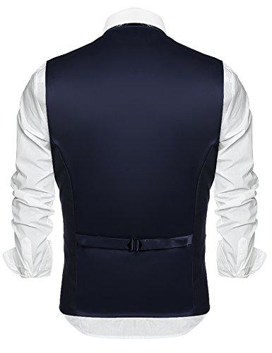 Coofandy Herren Weste Slim Fit Einreiher mit 5 Knöpfen Gilet Business Casual Klassisch Basic Männer Anzugweste für Herren Marine Blau