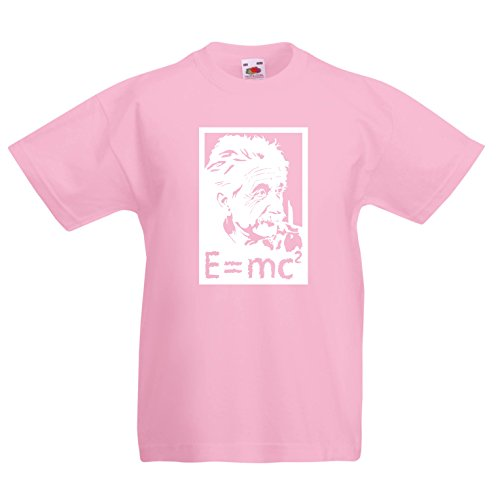 en/Mädchen T-Shirt Physikwissenschaftler Albert Einstein, Geschenk für Wissenschaftsliebhaber (3-4 Years Pink Weiß) ()