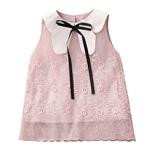 Livoral Mädchen Blume Spitze Bogen Puppe Kragen Prinzessin Kleid Kleinkind Kind Baby Party Schönheit Schönheit Tutu(Rosa,100)