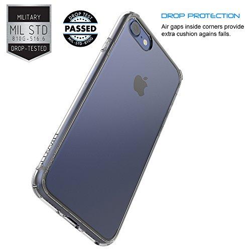 luvvitt [Verre] Coque arrière hybride résistante aux rayures avec Bumper antichocs pour Apple iPhone 7-Cristal Transparent