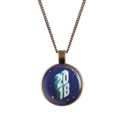 Mylery Halskette mit Motiv Silvester 2018 bronze 28mm Glas-cracker
