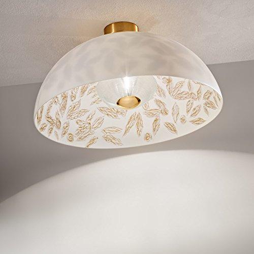 Kolarz Moderne Deckenleuchte Ø50cm Jugendstil Kunstvoll Modern Weiß Gold Halbkugel-Form Ornament...