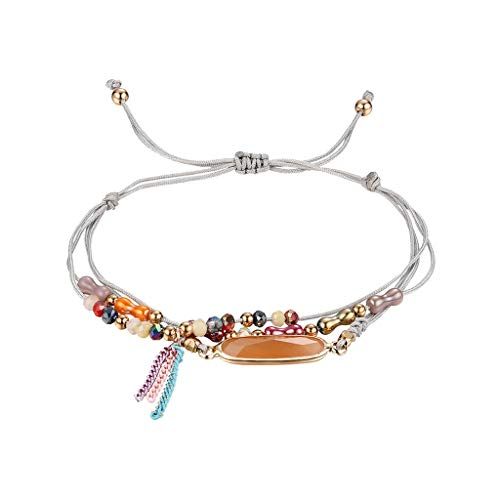 UINGKID Damen-Armband Armreif Temperament Crystal Multicolor Multi Layer Kreative Quaste mit verstellbarem Armband