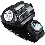 Fun n Shop LED Display Rechargeable Wrist Watch Flashlight Torch with Clock Display Compass for Outdoor Running Hiking Camping Riding Etc