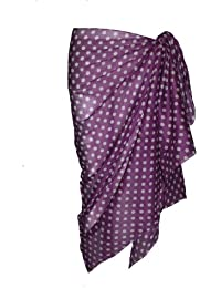 Violet Cotton Sarong with Polka Dot Design
