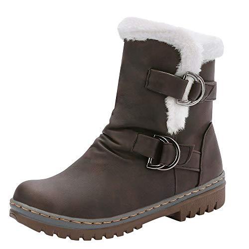 Stivali Donna Inverno Pelliccia Stivali da Neve Stringate Scarpe Snow Boots Caviglia Caldo Stivali Stivaletti (35 EU,Marrone)