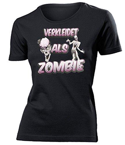 Zombiekostüm Zombie 5236 Kostüm Kleidung Damen T-Shirt Frauen Karneval Fasching Faschingskostüm Karnevalskostüm Paarkostüm Gruppenkostüm Schwarz XXL