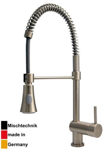 Burgtal 10804 K-4-NE Dendra Einhebel Spültisch Armatur mit Feder herausziehbarer Brause Niederdruck Edelstahl