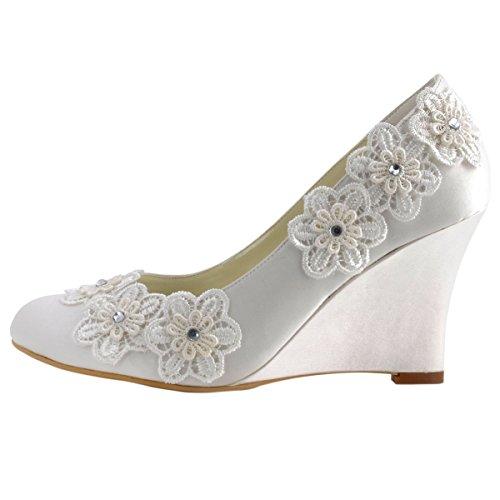 ElegantPark WP1416 Escarpins fleur Femme Chaussures de mariee mariage Ivoire