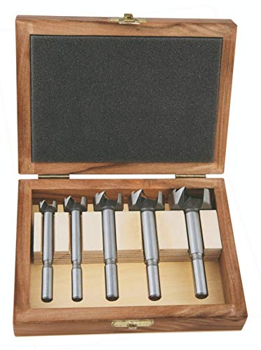 Alpen 23900005100 Forstnerbohrer Set (5-teiliger Bohrer Satz; Profi Sharp Shark; 15, 20, 25, 30, 35 mm) Holzkassette
