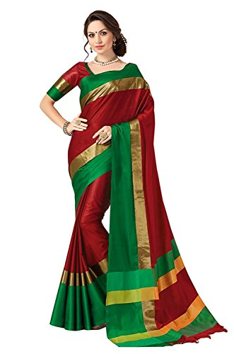 Perfectblue Women's Cotton Silk Saree (Pb0Redgreenviswa_Green_Free Size)
