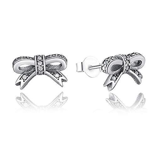Cyuang Damen Ohrringe Funkelnder Bogen des Sterlingsilber-925 Mit Freien Cz-Ohrringen Für Frauen-Marken-Modeschmuck A