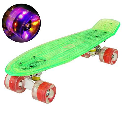Hiriyt Mini Cruiser Skateboard 22 Zoll Fishboard FÜR Anfänger Jugendliche Und Erwachsene - Tragbares Mini-Skateboard - 4 Ledteile Erleuchten Das Glatte PU Rad (Grün / rotes Rad / Riemen)