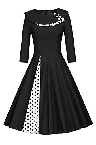 Damen 60er Jahre Vintage Kleid Abendkleid Pin Up Polka Dots Knielang Schwarz S (Jahre Vintage-kleidung 60er)