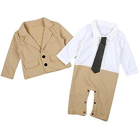 ZARU Bebé de la chaqueta del juego del caballero Trajes para niños Prendas (mamelucos + Escudo)