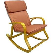 Sedia a dondolo poltrona in legno naturale marrone miele con cuscino imbottito per casa salotto veranda