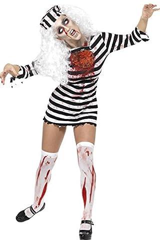 Smiffys, Damen Zombie-Sträfling Kostüm, Kleid mit Latex-Teilen und Mütze, Größe: L, 34131 (Mad Krankenschwester Halloween Kostüm)