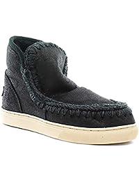 MOU Boot stivale ESKISNEAKER CRACKED BLACK GREY nero grigio camoscio 82a21d49726