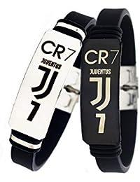 Lorhs store Fútbol Cristiano Ronaldo Inspirador Firma Pulseras Ajustables CR7 Pulsera de Silicona Deporte 2 Piezas