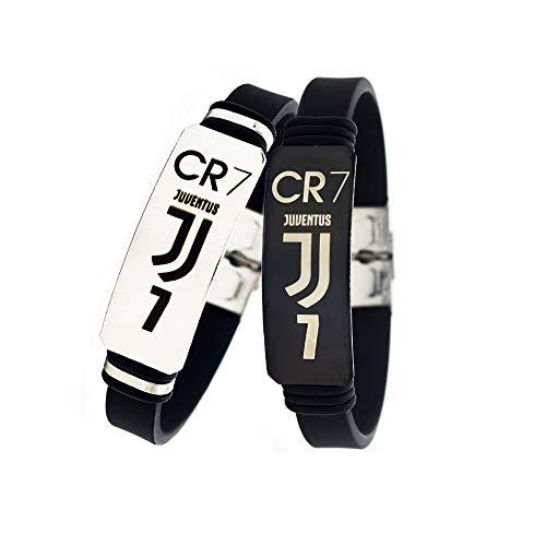 Lorh's store Fußball Cristiano Ronaldo Inspirierende Verstellbare Armbänder CR7 Juventus Sport Silikon Armband 2 Stück -
