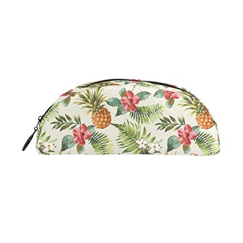 COOSUN Stifteetui mit tropischen Blumen und Ananas, halbrund, für Damen und Mädchen - Sammlung Bleistift Schublade