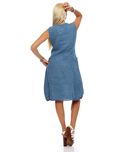 ZARMEXX Fashion -  Vestito  - linea ad a - Senza maniche  - Donna Denim