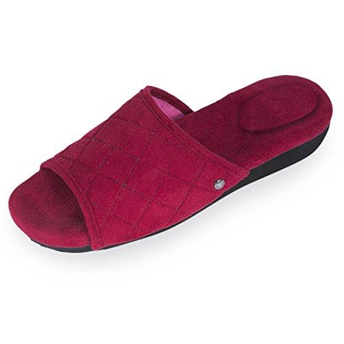 Isotoner Chaussons sandales femme à talon Femme Rouge