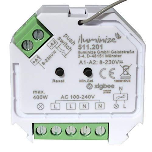 iluminize Zigbee 3.0 Dimm-Aktor Mini, 1 Kanal 230V, max. 200W/400W, Lightlink & Touchlink, per Phasen-AB-schnitt dimmbare 230V Lampen & Leuchten -