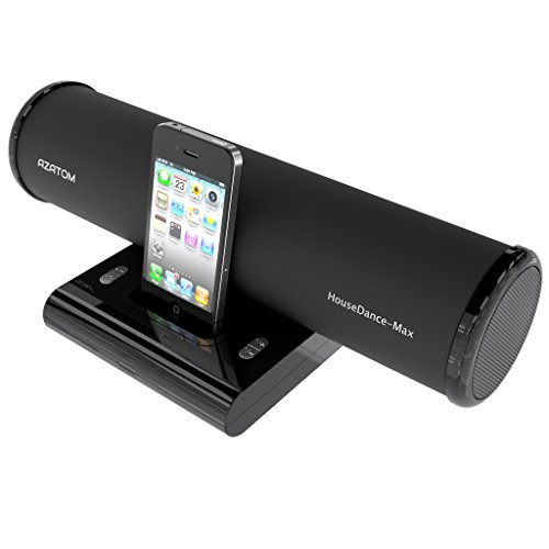 AZATOM® House Dance Black: iPod - iPhone - iPod Touch and Nano docking station speaker. Produces 24 Watts of High Quality Sound - Great Vocals and Deep Bass reproduction - Unique scratch resistant design - Full Remote control - The House Dance offers amazing sound and exceptional Value for Money