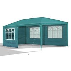 JOM 127145 Gazebo da Giardino, 3 x 6 m, con 6 pareti Laterali, 4 con finestre e 2 Chiuse, giunzioni plastiche, Impermeabile, con picchetti e Corde di Tensione, Verde