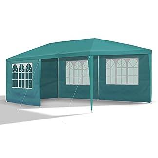 419UKtAz6tL. SS324  - JOM 127145 Gazebo da Giardino, 3 x 6 m, con 6 pareti Laterali, 4 con finestre e 2 Chiuse, giunzioni plastiche, Impermeabile, con picchetti e Corde di Tensione, Verde