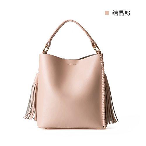 Sac à main en cuir tressé sac épaule Sac fourre-tout sacs à main simple,poudre cristalline Crystalline powder