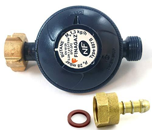 Finagaz Détendeur Butane NF - 1,3 kg/h - 28mbar - Compatible Toutes Marques de Bouteilles de gaz...