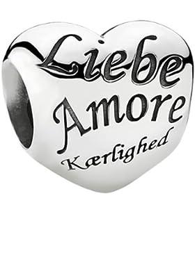 Pandora Damen-Charm 925 Sterling Silber Herz mit Schriftzug Love in verschied. Sprachen 791111