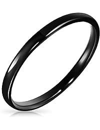 Bling Jewelry Anillo Tungsteno Negro Unisex 2MM