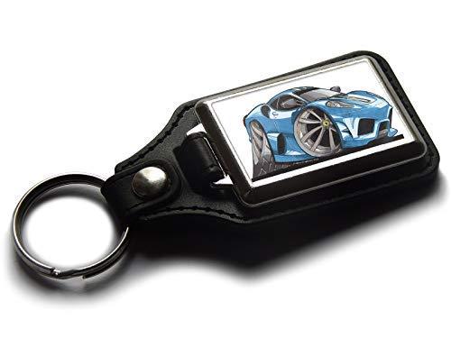 Koolart Karton Auto Ferrari F430 Leder und Chrom Schlüsselanhänger Wählen Sie eine Farbe - Blau