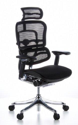hjh OFFICE 652116 High End Bürostuhl ERGOHUMAN PLUS Netz-Stoff Schwarz Chefsessel ergonomisch, Rückenlehne verstellbar
