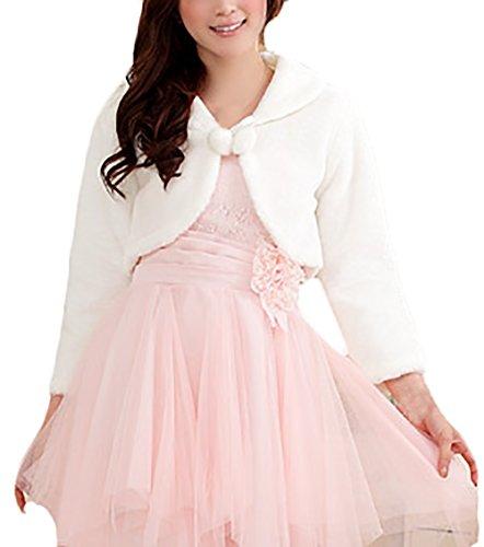 Chaquetas De Mujer De Esencial Novias Sintético Pelo Boleros para Boda Fiesta Torera Cardigan con Manga Larga Tallas Grandes Blanco (Color : Blanco, Size : XL)