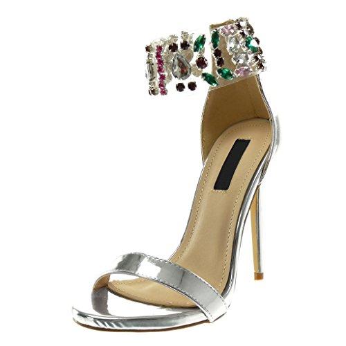 Angkorly scarpe moda sandali decollete con tacco stiletto alti donna gioielli trasparente tanga tacco stiletto alto 12 cm - argento b7780 t 38