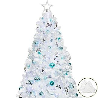 BusyBee Árbol de Navidad Artificial de 210 cm con 360 Luces LED y 152 Decoraciones navideñas Que animan la Navidad, incluidos los artilugios del árbol de Navidad Luces de Cadena LED USB