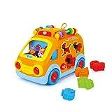TOYMYTOY Baby Spielzeugauto Schulbus Spielzeug mit Blöcken und Musik Elektrisches Kinderwagenspielzeug für Babykinder Kleinkinder Kindergeschenk
