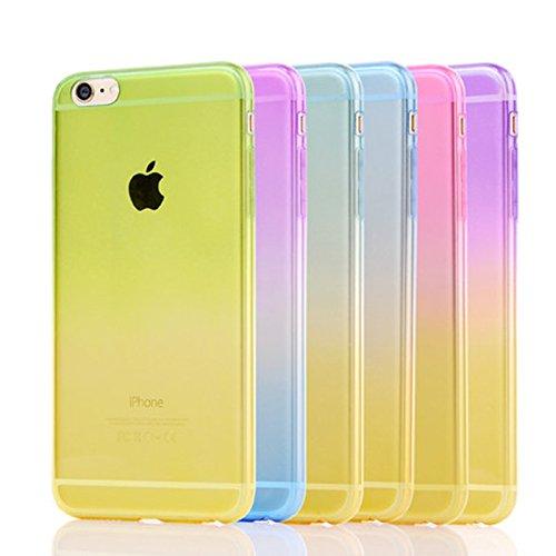 Apple iPhone 6/6S (4.7 Zoll) Hülle,Einfache Gradienten dünnen TPU Schutzmaßnahmen weichen HülleSchlank war dünn durchscheinend Hülle (iphone 6/6s, Pink) Lila und Gelb
