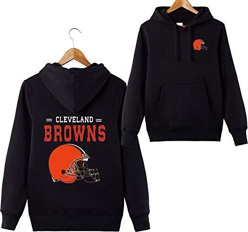 ZXTXGG Männer 3D Hoodies Cleveland Browns NFL Football Team Uniform Muster Digitaldruck Liebhaber Kapuzenpullis(M,Schwarz)