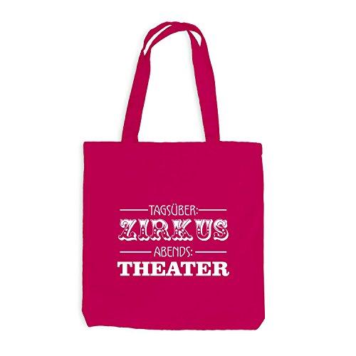 Jutebeutel - Tagsüber Zirkus - Abends Theater - Fun Style Pink