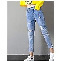 YFLTZ Pantalones Vaqueros Delgados de Las Mujeres - Cintura Alta de Color sólido, Azul, 27