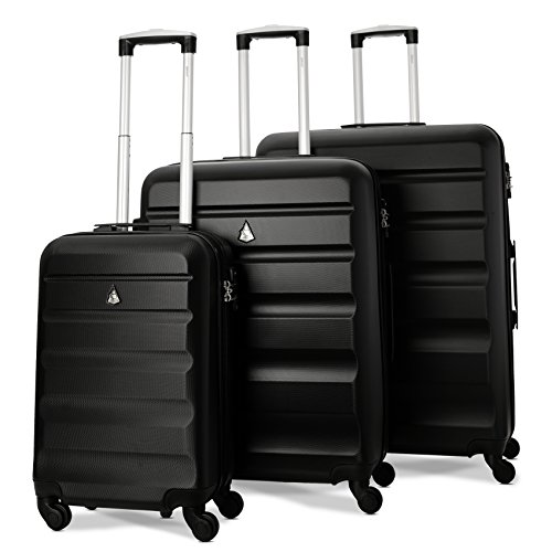 """Aerolite Carrello da viaggio per bagagli con ruota rigida ABS con 4 ruote gommate con combinazione Serratura con combinazione TSA (set da 3 pezzi, 21""""+ 25"""" + cabina da 29"""", nero)"""